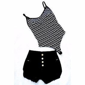 Conjunto Crooped Body +short Jeans Balada Festa Varias Cores
