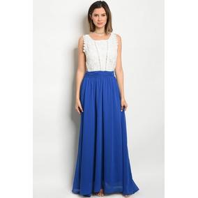 Vestido Fiesta Azul Rey Con Encaje Blanco Ropa Dama