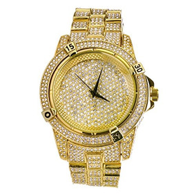 Mens Hip Hop Luxury Iced Out Techno Pave Watch Gold Tone Hea