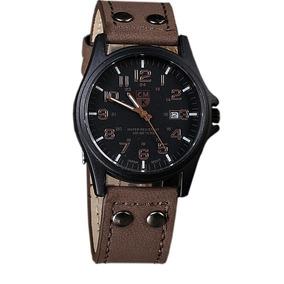 Relógio Masculino Luxo Top Pulseira Couro Social Militar