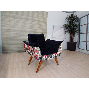 Poltronas Decorativa Preto Com Floral (entrega: Capital Rio