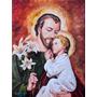 Quadro São José Pintura Sacra Óleo Sobre Tela 40x60cm