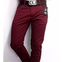Calca Masculina Skinny Colorida De Grife + Cinto De Couro