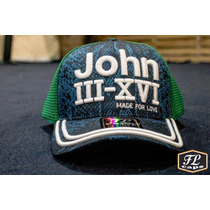 Boné Cristão John 3.16 Trucker - Azul, Verde, Rosa