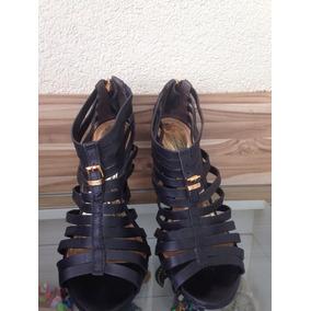 Sandália 37 Couro Preta Triton + Bolsa
