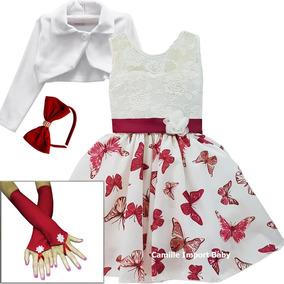 Vestido Infantil Petit Boneca E Criança Borboletas 4 Ao 16