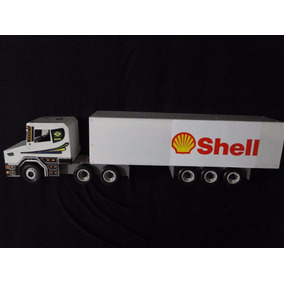 New Shell Caminhão Brinquedo Bau Abre Bitrem Scania Madeira