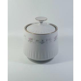 Azucarera Porcelana Tsuji, Flores Rosadas Y Bordes En Oro