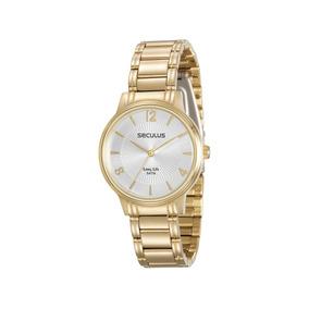 26a57f6f4a9 Relógio Seculus Long Life Dourado Fundo Strass 24777lpsbda1 ...