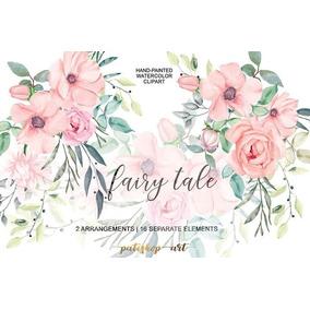 Kit Imprimible Blush Roses Watercolor Flowers Set