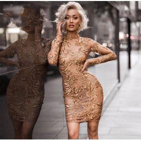 Vestido Mujer Dorado Con Lentejuela Corto Bandage
