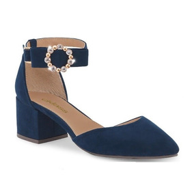 Zapato P/dama Cklass 105-62 Azul Marino 5cm Gamuza C/piedra