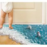 3d Wall Sticker Adesivo 3d Piso Chão Praia De Golfinhos