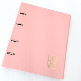 Caderno Fichário Rosa Geométrico Love
