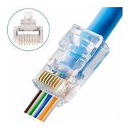 25 Ficha Rj45 Plug Conector Cat 6 Pasante Canalizado Red Utp