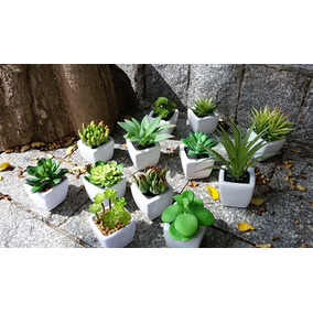 Kit 12 Plantas Mini Suculentas Artificiais Vaso Cerâmica