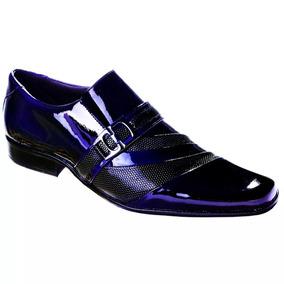 Sapato Social Masculino Verniz Azul Italiano Couro Legítimo
