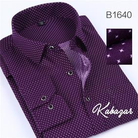 Camisa Social Masculina Vintage Roxa 100% Algodão Tam 2