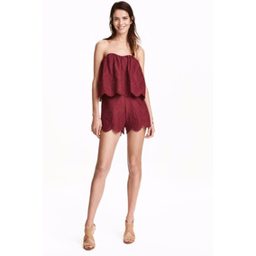 Strapless Short Mono Entero Jumpsuit Broderie Bordo H&m Hot!