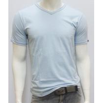 Camiseta Gola V Lisa Slim Masculina 100% Algodão Marca Oxley