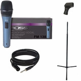Combo Karaoke Microfono Ross Con Soporte Cable Y Pipeta
