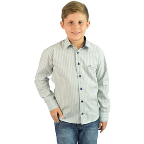 Camisa Social Infantil Listrada Cinza Clar - Frete Grátis