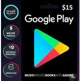 Google Play Tarjeta Gift Card 15 D¿lares Usd [pc]