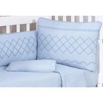 Kit Berço Bebê Enxoval Azul 200fios Provençal Completo 9pçs