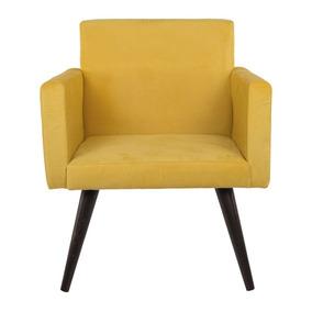 Cadeira Poltrona Beatriz Decorativa Suede Amarelo