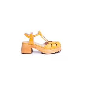 Natacha Zapato Mujer Sandalia Cuero Charol Caramelo #3335