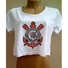 Camiseta Cropped Corinthians Feminina Com Manga Blusa Timao
