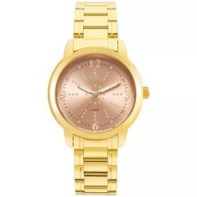 Relógio Allora Dourado Feminino + Semijóioa - Al2035fmf/k4l
