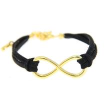 Pulseira Bracelete Couro Infinito Dourado Feminino Mod.11