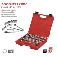 Jogo De Soquetes 22 Peças 1/2 10 A 32mm Estriado Worker