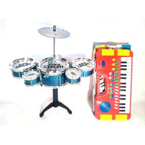 Kit Mini Bateria 5 Tambores Happy Jazz Drum + Mini Teclado