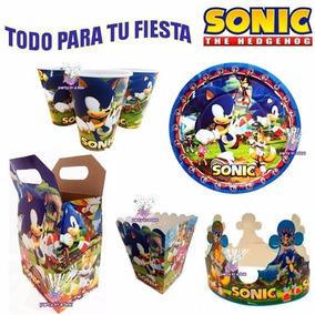 Fiesta Sonic Platos Vasos Dulceros Palomitas Bolo
