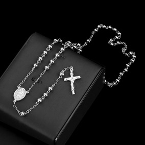 Terço Rosário Oração Aço Inox 316l Maciço 70cm Bolinhas 6mm