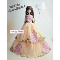 Vestido De Noiva Luxo P/ Boneca Barbie + Véu Luva Sapato 27n