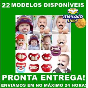 Chupetas Engraçada Infantil Bebe Monstro Dentão Beijo Bigode