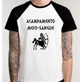 Camiseta Raglan Acampamento Meio Sangue Camisa Blusa Unissex