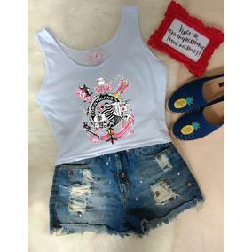 ef96f15198a47 Camiseta Do Corinthians Feminina Oficial Cropped - Calçados