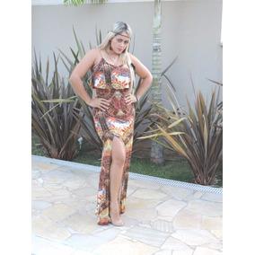 Vestido Longo Com Fenda E Babado Roupas Femininas Sem Renda
