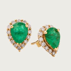 Brinco Em Ouro 18k (750) Com Esmeraldas E Diamantes