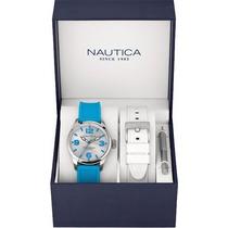 Reloj Náutica A11623m Original Con Extensible Extra Blanco