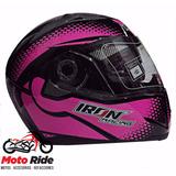 Casco Iron Racing Con Mica Y Gafas Abatibles Rosa/negro