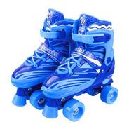 Patins 4 Rodas Clássico Azul Roller Skate C/ Ajuste Promoção