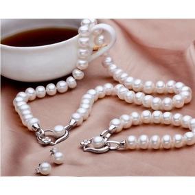 Perlas Reales, Hermoso Set De Lujo-collar-aretes-pulsera.