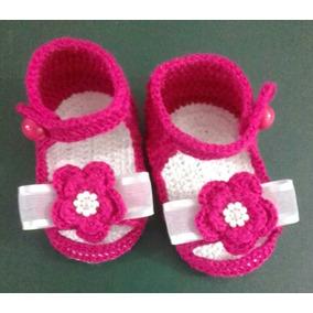 Sandálias Crochê Feminino Rosa Pink Bebe Enxoval Menina