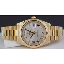 Frete Gratis - Day Date Gold Presidente Dial Branco - Novo