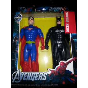 Set 2 Personajes (superman Y Batman)/capitan America Con Luz